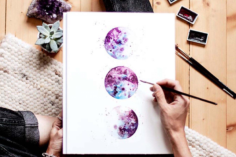 Aquarell & Watercolor Illustration – Monde und Planeten [Klagenfurt am Wörthersee]